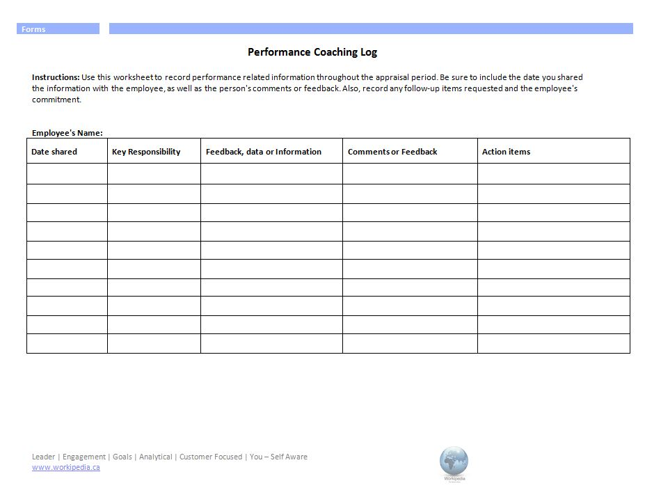 Performance Coaching Log Form – Workipedia