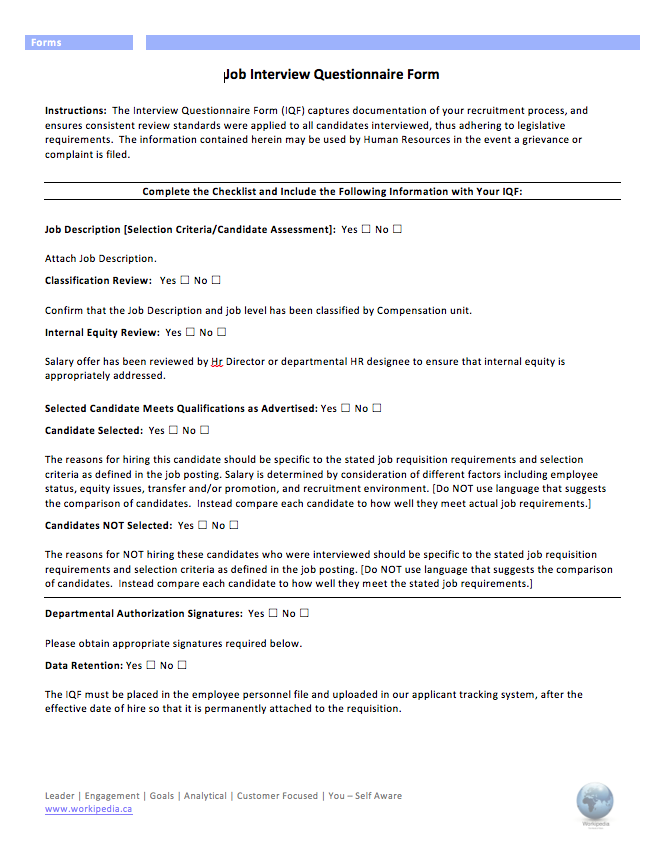 Post Interview Questionnaire Form – Workipedia