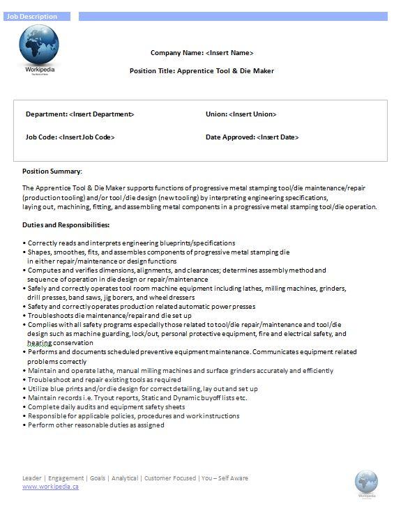 tool and die apprenticeship resume ce liu phd thesis