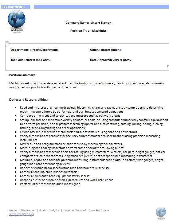 machinist job description - Machinist Job Duties