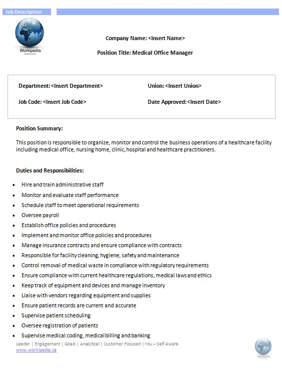 Medical office manager job description workipedia - Office administration executive job description ...